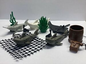 LEGO Animal Minifigures Lot Of 12 Pcs. Sharks, Stingray, Scorpion, Net, Anchor