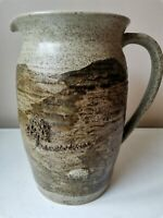 "RARE LARGE 8"" CLASSIC SALT GLAZE STONEWARE STUDIO POTTERY SHEEP COUNTRYSIDE JUG"