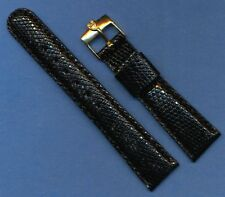 Rolex Tudor Gold Plated Buckle 22mm Black Genuine Lizard Strap Band Leather Line
