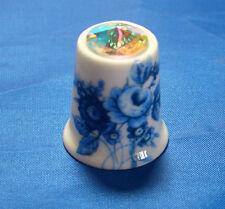 Birchcroft China Thimble - Blue Rose with Swarovski Crystal -- Free Dome Box