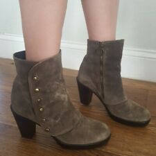 FIORENTINI + BAKER Suede Leather Ankle Boots 38 7.5 8 Olive Tan Heels Steampunk