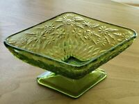 Indiana Glass Diamond Shaped Green Glass Pineapple Floral Footed Candy Dish Bowl