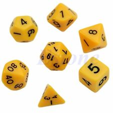 7pcs Yellow Sided Die D4 D6 D8 D10 D12 D20 DUNGEONS&DRAGONS RPG Poly Dice Game