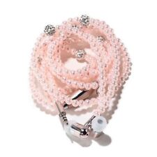 For Phone tablet Jewelry Pearl Necklace Earphones Mic 3.5mm In-ear Headphone