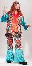 Hippie Costume Men's 4 Pc Turq Orange & Brown Pants Shirt Vest & Headband Lg