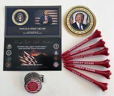 Donald Trump ..MAGA Golf Ball Marker & Hat Clip + 6 MAGA Golf Tees...+ 1 Decal