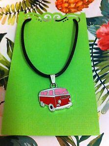K07 VW Kombi Red & Pink Charm Necklace On Black Cord ( Hippy, Retro)