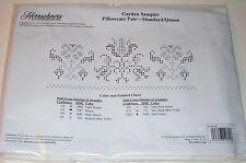 Herrschners Garden Sample Pillowcase Pair Standard/Queen Stamped Linen