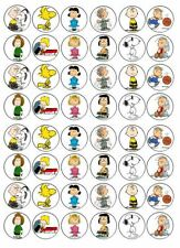 48 X 3cm Peanuts Charlie Brown Cup Cake Toppers Edible Rice Wafer Paper