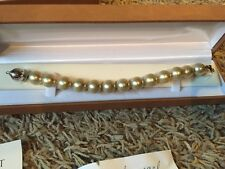 Diamond Vault Sterling Silver Simulated Pearl  Jewelry  Bracelet $195 New