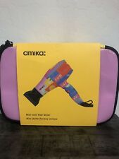 amika Mini Ionic Hair Blow Dryer 1200 Watts Pink FUN NEW WITH Case BAG