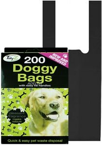 200 x Disposable Scented Dog Poo Bag   Dog Cat Easy Tie Doggy Poop Waste Bags