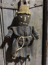 PRIMITIVE GRUNGY SCARECROW DOLL ~ BLACK  FOLK ART  HALLOWEEN~FALL~  ART~CUPBOARD