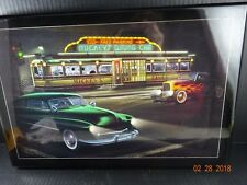 Classic Cars at Mickey's D Helen Flint Framed w/ Pressed Wood Wall Hanging Print