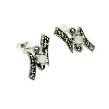 Marcasite Earrings Mother of Pearl Stud on Sterling Silver