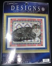 """NEW IVORY CATS COUNTED CROSS STITCH KIT BY """"DESIGNS FOR THE NEEDLE"""""""