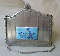 Antique Silver Blue Guilloche Bird  Bar Chain Perfume Lipstick Compact DFB Co