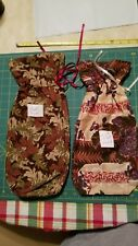 """Lt 11 Pair Wine Gift Bags All Occassion Floral prt 17""""x7"""" &15×7"""" Reusable Fabric"""