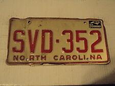 1980 North Carolina License Plate Tag SVD 352 NC