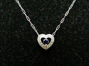 Vintage .925 Sterling Silver CZ Blue Rhinestone Heart Pendant Necklace
