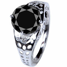 Real Rough Diamond Men'S Ring .925 Silver 4.45 ct Aaa Black Moissanite Round &