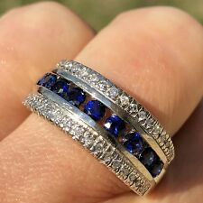 14K White Gold Blue Sapphire Diamond Horizontal Wide Band Stack Vintage Ring 8.5