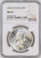 :1960 S1$ DOLLAR ELIZABETH-II CANADA KM#54 LOW-POP RARE NGC MS-63 HIGHEST-GRADES