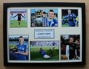 Jamie Vardy Signed Leicester City Multi Picture Career Display (20672)