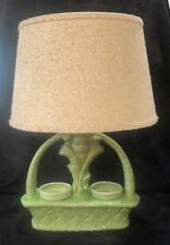 Mid Century Green Banana Tree Double Planter Lamp .With Inserts & Original Shade