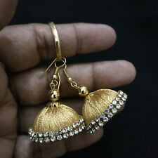 Gold Fashion Silk thread girls Women Teen Indian Handmade hook Dangler earrings