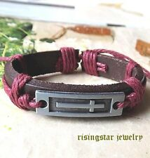 Women's Latin Cross Leather Surfer Biker Character Hip Hop Bracelet Wristband