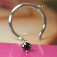 Diwani Real 1.7mm Black Diamond Engagement 14k Gold Nose Ring Stud Piercing Pin