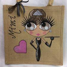 Personalised Handpainted Jute Audrey Hepburn Style Jute Handbag Hand Bag Gift