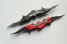 Set of Black and Red BATMAN Knight Spring Assisted Dual Blade Pocket Knife