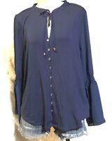 MK Michael Kors women's Teal Blue Button Down Long Sleeve Blouse Top Large $99