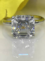 Asscher Cut Diamond 4ct Solitaire Engagement,Wedding Ring In 14K White Gold Over