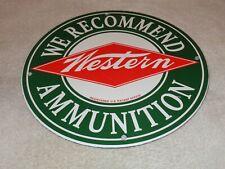 "VINTAGE WINCHESTER WESTERN AMMUNITION 11 3/4"" PORCELAIN METAL AMMO GAS OIL SIGN!"