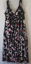 Womens S Cato Black White Red Print Sleeveless Stretch Dress Lined Top Casual