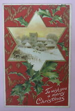 ANTIQUE TO WISH YOU A MERRY CHRISTMAS POSTCARD-GERMANY-RED-STAR/CHURCH/MISTLETOE