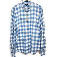 J Crew Factory Mens Shirt Slim Fit Blue White Plaid Homespun Cotton Sz L