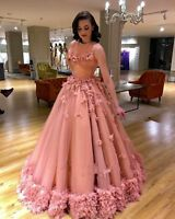 Long Ball Gown Flower Quinceanera Dress Formal Bridesmaid Evening Party PromGown