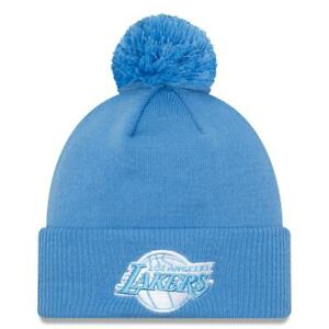 Los Angeles Lakers New Era Light Blue 2020/21 City Edition Pom Knit Hat Toque