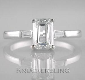 Diamond Solitaire Ring 1.70ct Certificated G VS1 Exc Emerald Cut 18ct White Gold