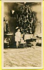 Vtg Rare Real Photo Snapshot Christmas Tree/Doll In Stocking On Mantel/Toys 1920