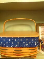 Longaberger 1999 Woven Traditions Cake Basket Set with Lid - Classic Blue