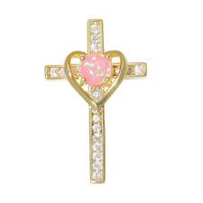 Pink Fire Opal Zircon Cross Yellow Gold Plated Women Jewelry Pendant OD6987