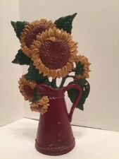 Vintage Cast Iron Floral Sunflowers In Pitcher Door Stop Midwest Importers