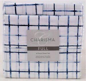 Charisma 4 Piece Extra Soft Microfiber Sheet Sets Set Full Size Cape Cod Navy