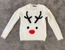 NUOVA linea uomo divertente natalizio renna Rudolph Pom Pom Maglione ROSSO BRUTTO S-XL Uk soffici