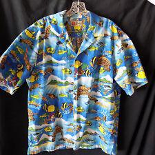 Hilo Hattie Mens Hawaiian Shirt XL Bright Blue Fish Turtle Mountains Coral